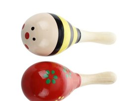 Wholesale Instruments For Kids - 2 X Wood Maracas Musical Instrument Toy For Kids
