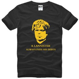 Wholesale Game Thrones T Shirts - Game of Thrones T Shirts Men Cotton Short Sleeve A Lannister Always Pays His Debts Printed Men's T-Shirt Tyrion Lannister Tees