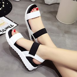 Wholesale elastic sandals - women designer sandals Simple Design Open Toe Elastic Band Patchwork Platform Sandals for Ladies platform sandals