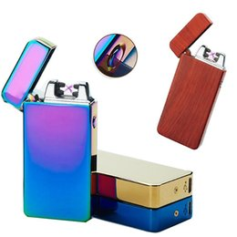 Wholesale Cigarette Rechargeable Torch - 2017 Hot Selling USB Electric Lighter Dual Arc Metal Flameless Torch USB Rechargeable Windproof Lighter-10 Colors