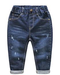 Wholesale Wash Design Denim Pant - Little Kids Pants Stylish Frazzle Jeans Blue Color with Pockets Design Soft Handfeel Pre-washed Effect Mix Size