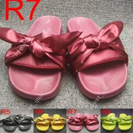 Wholesale Shoe Bags Satin - (With Box+Dust Bag) Rihanna Fenty Bandana Slide Wns Bowtie Women Slippers Beach Shoes 10 Colors Summer New Arrival BOW SATIN SLIDE SANDALS