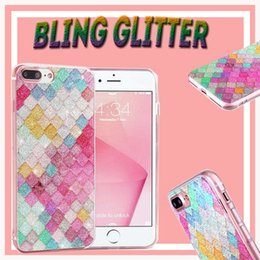Wholesale Iphone 5s Sparkle Cases - Rainbow Color Colorful 3D Scales Squama Bling Glitter Shining Sparkle Crystal Clear Soft TPU Case Cover for iPhone 7 Plus 6 6S 5 5S
