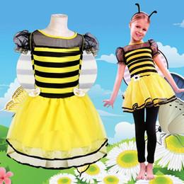 Wholesale Dress Up Set Kids - Kids Girls Bee Headband Wings Skirt Set Children Animal Cosplay Costume Halloween Party Dress Up Decoration