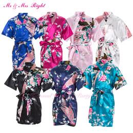 Wholesale Children S Wedding Gowns - Wholesale- 2016 New Wedding Kid Robe Satin Prom Children Gown Flower Girl Bathrobe Kimono Party Clothes Child Pajamas Bath Outfits