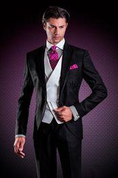 Wholesale Italian Suit 48 - 2017 New Italian Black Tuxedos for wedding mens Suits Jacket+Pants+Vest+Tie custom made groomsmen suits formal suit