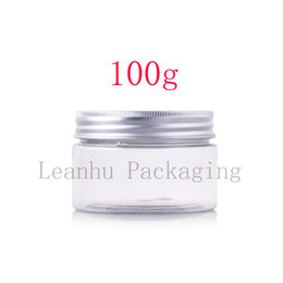 Wholesale Clear Plastic Pet Containers - Wholesale- 100g X 20 transparent PET cream jars bottles containers with aluminum lid , 100ml clear empty plastic tin for skin care cream