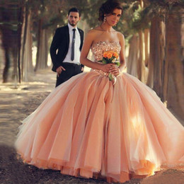 Wholesale Quinceanera Dresses Red Bling - Bling Bling Crystal Rhinestone Coral Long Prom Dresses 2017 Puffy Skirt Fairy Ball Gown Quinceanera Gowns Robe De Soiree