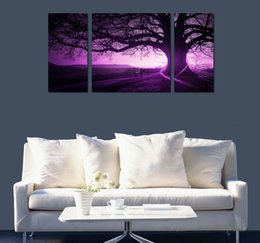 Wholesale Modern Abstract Huge Wall - Framed 3 Panel Huge Modern HD Canvas Print Art Painting Purple Magic Tree,Home Wall Decor High Quality Canvas Multi sizes Free Shipping