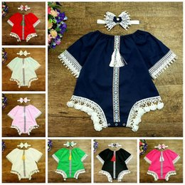 Wholesale Baby Bodysuits Short Sleeve - Retail Baby Girls Bodysuits Retro Style Cotton Lace Half Sleeve Tassels Baby Jumpsuits With Headband Infant Clothes DF002