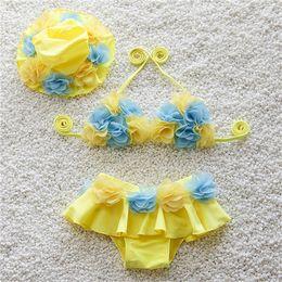 Wholesale Swim Cap Baby - 5colors Baby Girls Flower Lace Swimwear Bikini 3pc set Swim cap Top Shorts infants baby cute flower swimsuit for 1-4T