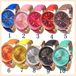Wholesale Leather Dressings Wholesale - Unisex Geneva Leather PU Quartz Watches Men Women Luxury Brand Numerals Roma Men's Watch Casual dress wrist watches wholesale 100PCS