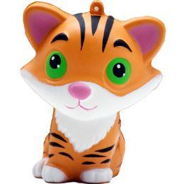 Kawai squishy online-Squishy Slow Rising Kongfu Tiger Fruits Kawai Hand Exerciser Fidget Toy Grande regalo per Fidanzata Bambini Compleanno