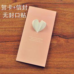 Wholesale Stationery Paper Designs Envelope - Wholesale- 6pcs lot Latest Design Candy Color Creative Greeting Card Korean Popular Envelope Letter Paper Student Stationery Supplies WZ