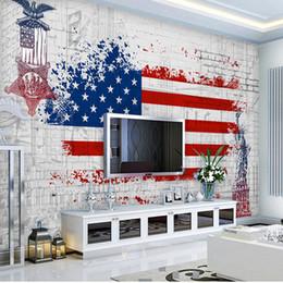 Wholesale Car Country Flag - Custom photo 3d wallpaper Non-woven mural American flag retro car wallpaper painting 3d wall room murals wallpaper