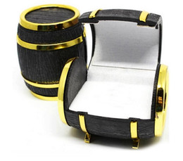 Wholesale Novelty Jewelry Boxes - New Novelty Europe Beer Barrel Velvet Ring Earring Jewelry Display Gift Box Case 10PCS LOT free shipping