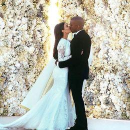 Wholesale Inspired Kim Kardashian - Inspired by Kim Kardashian Weds Kanye West Wedding Dresses Romantic Long Sleeve Crew Neck Lace Low Back Mermaid Bridal Gown