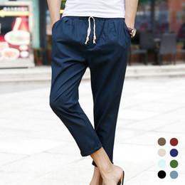 Wholesale Linen Pants Wholesale - Wholesale-2016 Summer Hot Linen Men Pants Casual Ankle-length Male Trousers Sweatpants Men (Asian Size)