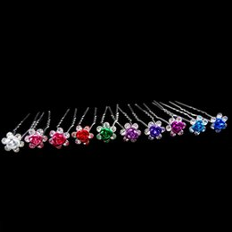 Wholesale Flower Hair Ornament Wedding - 200pcs lot Beautiful Multicolor Metal Flower Crystal Hair Pins Wedding Bridal Hair ornaments Accessories