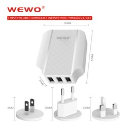 Wholesale Multiple Usb Adapters - WEWO US UK EU Plug 3 USB Wall Charger 3.4A Travel Power Adapter with Multiple USB Charger For Iphone 5S 6S plus samsung S8 edge Charge 2 3