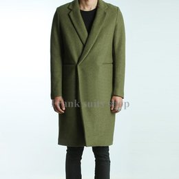 Wholesale Custom Trench Coats - Wholesale- Custom made 2017 Men's Green Woolen Trench Coats Slim Fit Brand Fashion British Style Windbreaker Overcoat