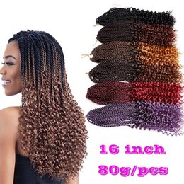 Wholesale Afro Kinky Braiding Hair - Pre-Twisted curl Kanekalon Kinky Dreadlocks Crochet hair Afro Hot 16 inch Synthetic Twist Braiding Hair Extensions Jerry Curly Faux Locs