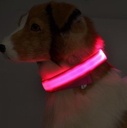 Wholesale Christmas Led Dog Collar - Fashion Nylon LED dog collar Striped Glow cat dog harness Pet supplies Beautiful Christmas Accessories 6 colors