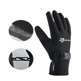 Wholesale Warm Gel - High Quality Winter Windproof Fleece Keep Warm Bike Bicycle Gloves Ultra-thick Silica Gel Anti-slip Anti-shock Cycling Riding Gloves