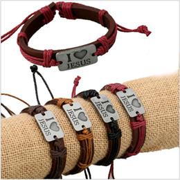 Wholesale Religious Bracelet Bulk - Wholesale Handmade Leather I love JESUS Alloy Rope Bands Charm Bracelet Four Colors Mixed Bulk Jewelry