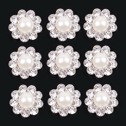 Wholesale Metal Embellishment Free Shipping - STOCK Free Shipping metal alloy rhinestone 16mm button with pearl flower cluster hair flower wedding embellishment