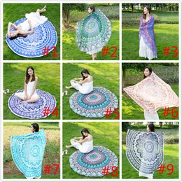 Wholesale Outdoor Yoga Mats - Sunscreen shawl Beach Blanket Yoga Picnic mat Printed Tapestry Outdoor seaside vacations Round Mandala Beach Towel 13 colors Free DHL