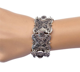 Wholesale Turkish Link Gold - Wholesale-Party Bohemia Dangle Antique Silver Coin Chunky Vintage Carved Coin Bracelets Bangles Coachella Festival Turkish Ethnic Jewelry