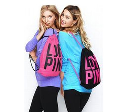 Wholesale Canvas Backpack Pink - Pink Drawstring Bags Women Pink Backpack Pink Letter School Bags Storage Bags Canvas Organizer Shopping Bag OOA1506
