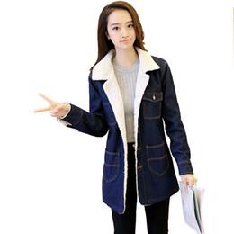 Wholesale female jacket sizes - Wholesale- 2016 winter warm denim jacket women plus size thick cotton velvet coat female loose chaquetas mujer long jaqueta feminina W049