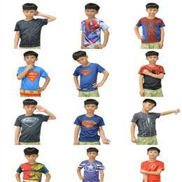 Wholesale Preppy Clothes Men - DHL Kids Clothing Superhero 3D Short Sleeved Cartoon T Shirt Avenger Captain America Iron Man Shirt Sport Quick Dry T Shirt Children Clothes