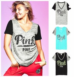 Wholesale Wholesale Clothing Hoodies - free shippin black grey T-Shirt Love Letter shirt Sleeve pink female hoodies Clothing Apparel V- Neck Vogue Tops
