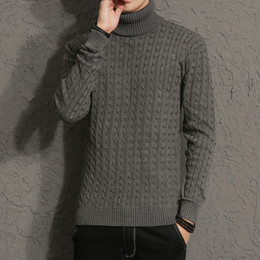 Wholesale Long Sweater Xs - New Autumn Men Brand Casual Sweater Turtleneck Striped Slim Fit Knitting Men's Sweaters Pullovers Men Pullover M-5XL