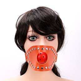 Wholesale Oral Fixation Sex - Adult Games Open Mouth Gag Ball for Women Couple Leather Mouth Gag slave Oral Fixation Stuffed Flirting SM Sex Toys