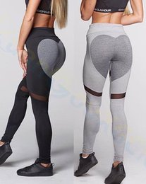 Wholesale Purple Heart Clothes - sport Gym Clothing running hip pants women heart leggings Elastic Yoga Outfits Fitness Workout pants elastic tights