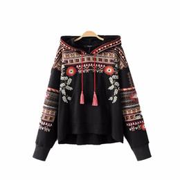 Wholesale Vintage Hooded Sweatshirts - Hot sale vintage totem geometric embroidery hooded sweatshirt oversized sequined long sleeve pullover casual tops hoodies