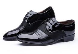 Wholesale Hot Wedges - Dress Shoes Casual HOT Size 6.5-13 Man Dress Shoe Flat Shoes Men's Business Oxfords Casual Shoe Black   Brown Leather Derby Shoes