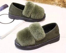 Wholesale Black Rabbit Rex Hair - Real Fur Flats Autumn Winter Flat Heel Women Fashion Rex Rabbit Fur Loafers Patchwork Slip On Casual Comfort Shoes cony hair boots