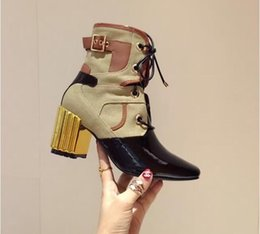 Wholesale Cm Boots - Fashion Show Crinkled Black Lambskin Leather Khaki Canvas Ankle Boot 7 CM Heel Comfortable Runway Buckle Booties Shoes