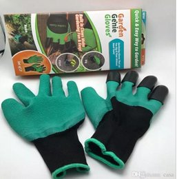 Wholesale Latex Gloves Wholesale Free Shipping - 2017 Rubber+Polyester Builders Garden Work Genie Latex Gloves with 4 Claws Quick & Easy way to Garden Digging & Planting Free Shipping