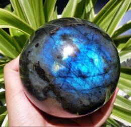 Wholesale natural blue moonstone - NATURAL Labradorite Crystal sphere ball blue Orb Gem Stone