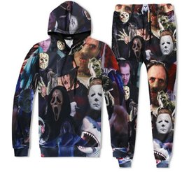 Wholesale Movie Crew - Horror Movie Killers Michael Myers Hellraiser Hannibal Lecter print Joggers Tracksuit Unisex Pants + Hoodie Sweatshirts Outfit