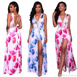 Wholesale Cover Overlay - Wholesale Women Sexy V-Neck Halter Floral Print Maxi Overlay Party Jumpsuit Romper Beach Cover Up Dress Price