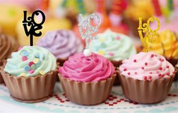 2019 décorations de mariage étincelantes Super sparkle LOVE dessert décoration insérée carte coupe gâteau acrylique inséré carte créative fête de mariage dessert faveur promotion décorations de mariage étincelantes