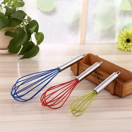 Wholesale Hg Wholesales - Fashion Delicate 10 inch Silicone Manual egg whisk Stainless Steel Handle stirrer Kitchen tools Cream Noodles stirrer Cooking Tools IA644