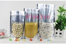 Wholesale Packing Nuts - 16x24cm, 100pcs x front clear stand up translucent aluminium ziplock bag-pistachios nut packing zipper sack grip seal, standing fruit pouch
